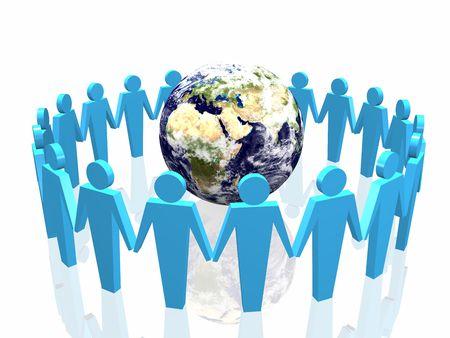 world partnership 3d illustration isolated in white background Stock Illustration - 3830250