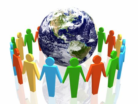 world partnership 3d illustration isolated in white background Stock Illustration - 3830259