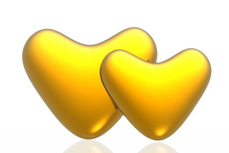 Golden hearts isolated in white background photo