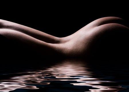 sexy woman nude: classic low key photo of sexy woman body