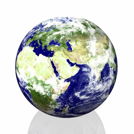 earth isolated in white background photo