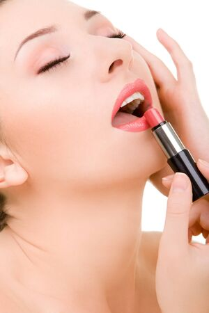Pretty young woman with lipstick Stock Photo - 4210411