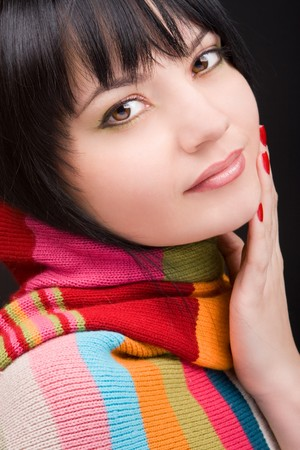 portrait of the woman with scarf on black background