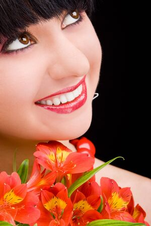 Young woman with flowers Stock Photo - 4244118