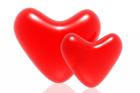 hots: Red hearts isolated in white background