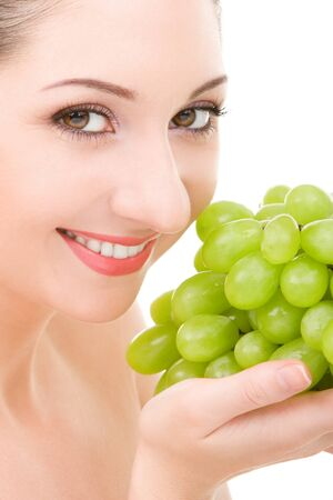 pretty woman with green grape isolated on the white background Stock Photo - 4366015