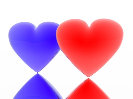 hots: Red and blue heart Stock Photo