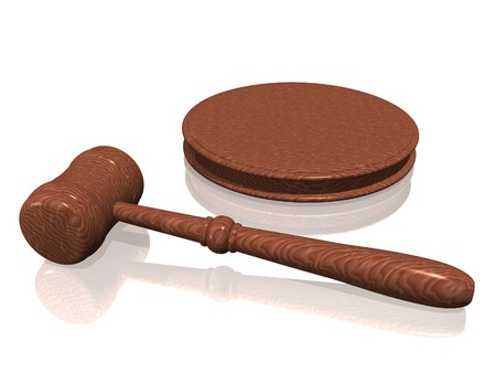 subpoena: Wooden gavel from the court on white background