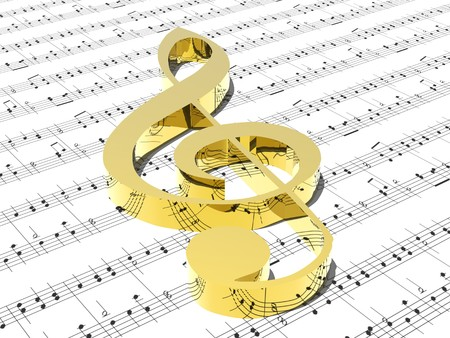 treble clef on sheet of printed music  Stock Photo