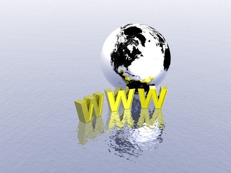 3d World Wide Web internet symbol and globe Stock Photo - 4398403