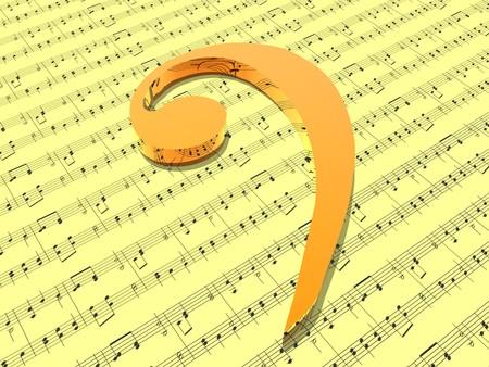 clave de fa: clave de fa en la hoja amarilla de m�sica impresa Foto de archivo