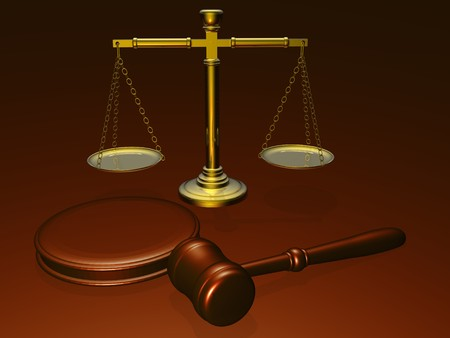 subpoena: Wooden gavel and scales from the court