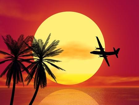 sundown and plane silhouette Stock Photo - 4398617