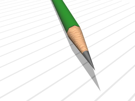 green pencil on note pad photo