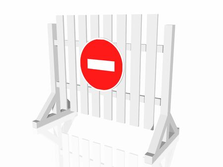 road closed: Traffic fence with sign stop