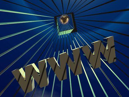 3d World Wide Web internet symbol and globe Stock Photo - 4398794
