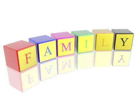 plaything: word family built from cubes Stock Photo