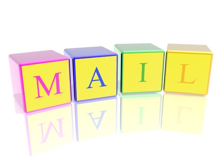 word mail built from cubes photo