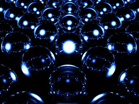 awe: Glass sphere illuminates other spheres