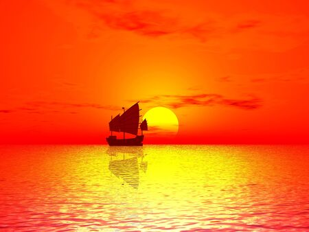 Red Sunset & boat photo