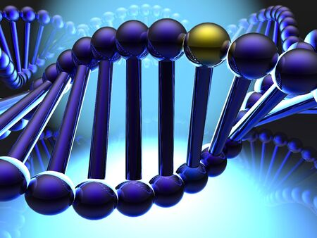researches: Golden gene in DNA  Stock Photo