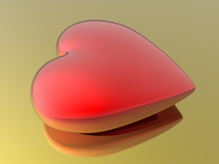 hots: Red heart isolated in golden background Stock Photo