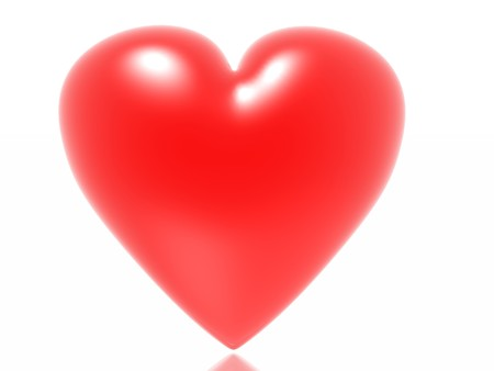hots: Red heart isolated in white background