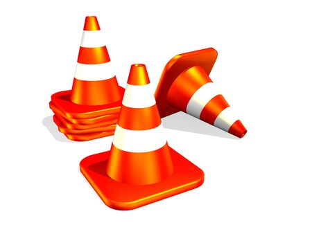 3d traffic cone isolated in white background photo