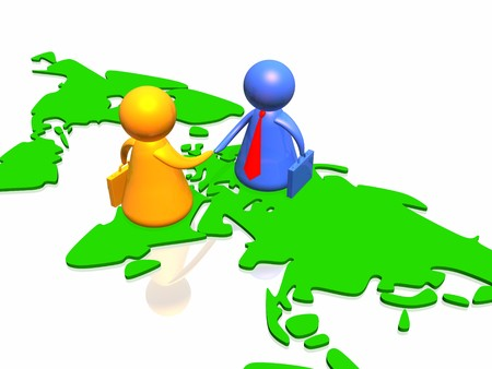 world partnership 3d illustration isolated in white background Stock Illustration - 4490411