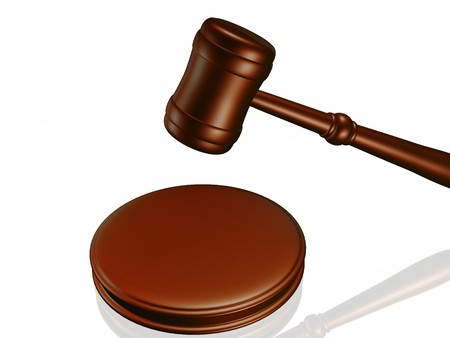 juror: Wooden gavel from the court