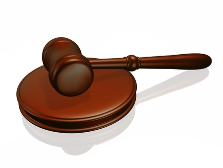 subpoena: Wooden gavel from the court