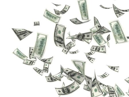 winning money: 3d money falling in the white background Stock Photo