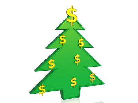 Business christmas tree, 3d illustration Stock Illustration - 4554855