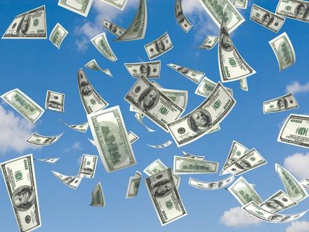 Geld, die in den Himmel und grünen Gras Hintergrund Standard-Bild - 4554937
