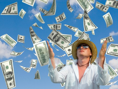 money falling in the sky and green grass background Stock Photo - 4553955