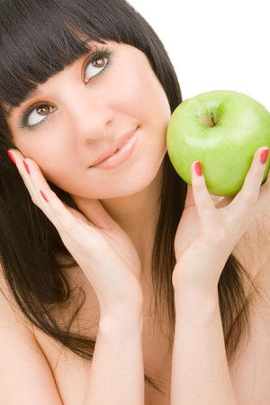 pretty woman with green apple isolated over white background Stock Photo - 4554567
