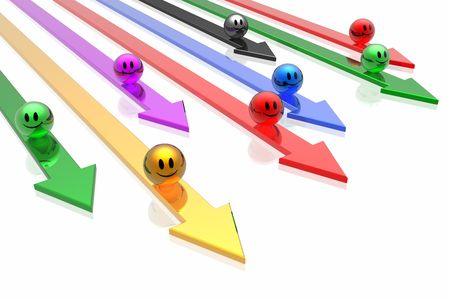 colorful  business teams with arrows photo