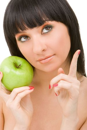 pretty woman with green apple isolated over white background Stock Photo - 4676821