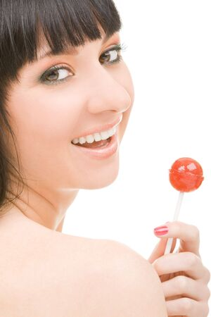 sweet woman with candy on white background Stock Photo - 4676813