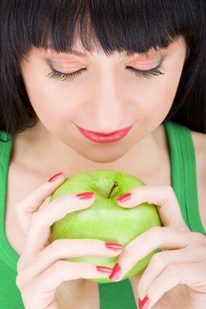sweet girl with apple photo