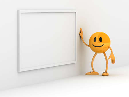 Blank board with golden business man photo