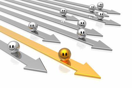 Success golden arrow with leadership   photo