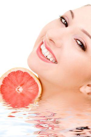 pretty woman with orange Stock Photo - 4766660