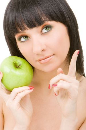 pretty woman with green apple isolated over white background Stock Photo - 4766619