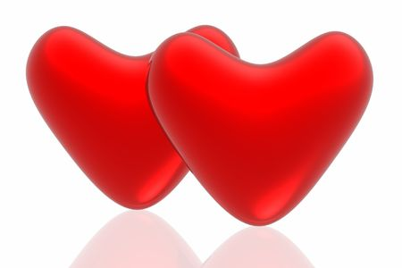 hots: Red hearts isolated in white background  Stock Photo