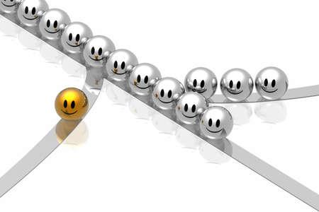 singular: golden leader in business way Stock Photo