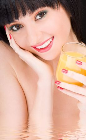 sweet woman with glass of juice  photo