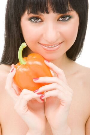 cute girl with pepper Stock Photo - 5087331