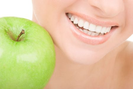 healthy teeth and green apple Stock Photo - 5178525