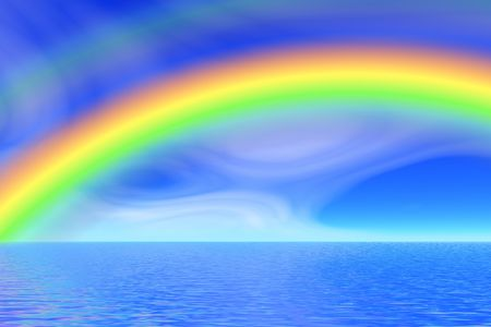 oceans: rainbow in the sea  Stock Photo